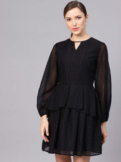Swiss Dot Flared Dress