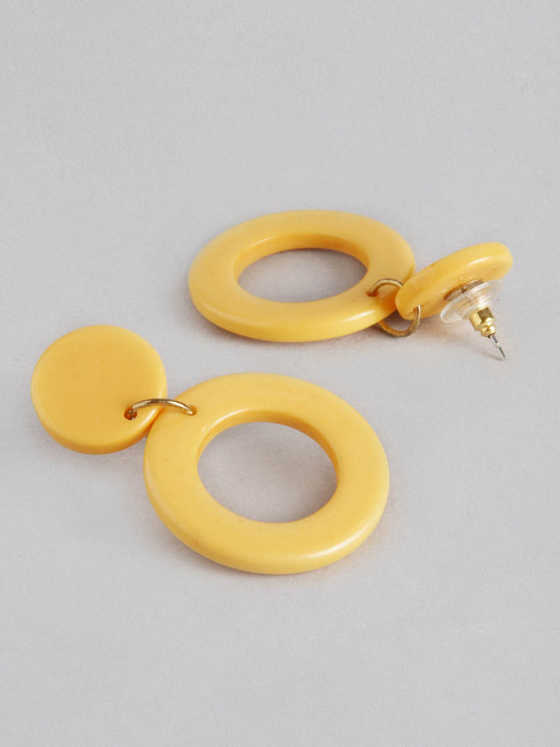 Yellow Round Drop Earring