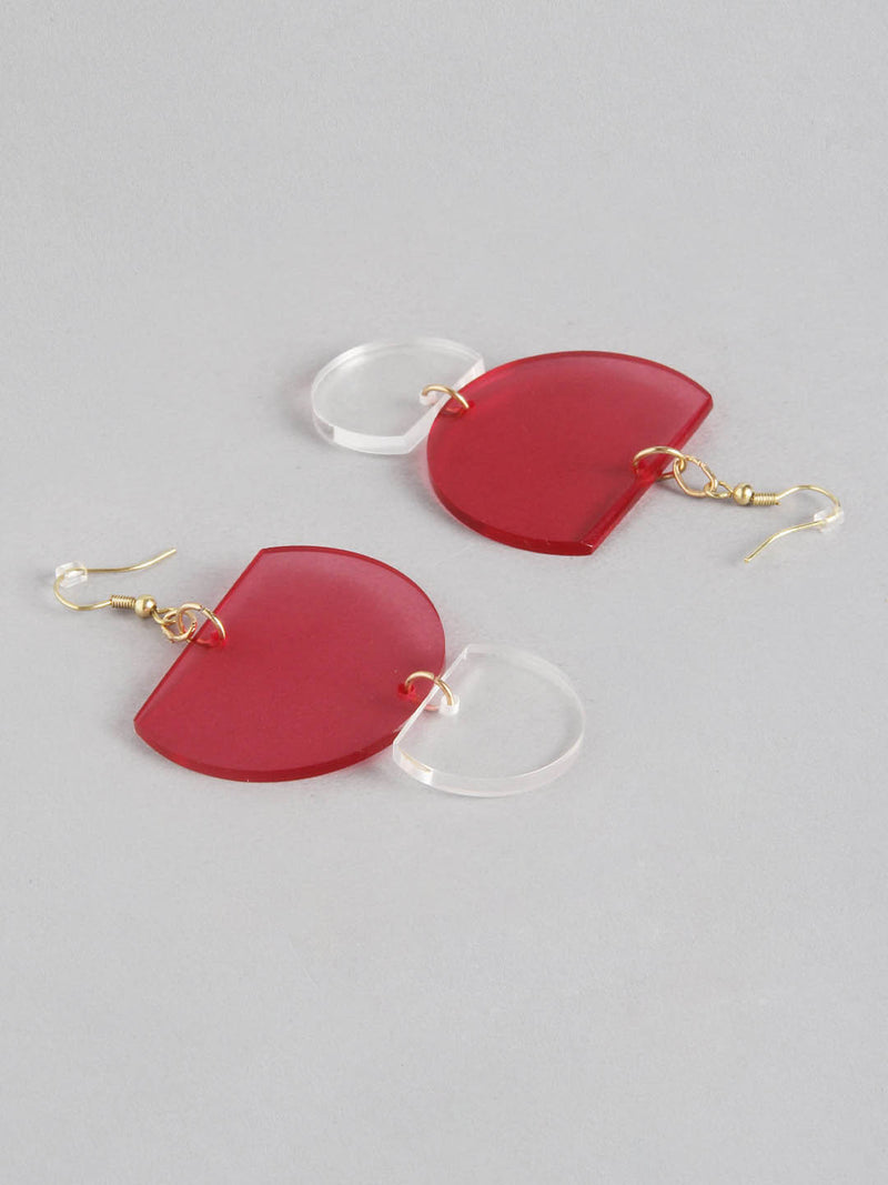 Red Clear Double Round Earring