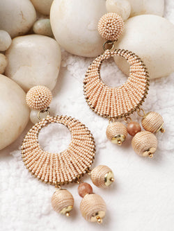 Peach beaded drop earring
