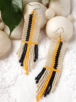 Black & Yellow Fringe Earring