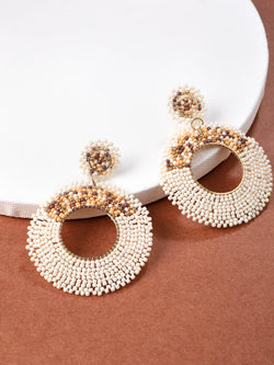 Ivory Beaded Circle Earring