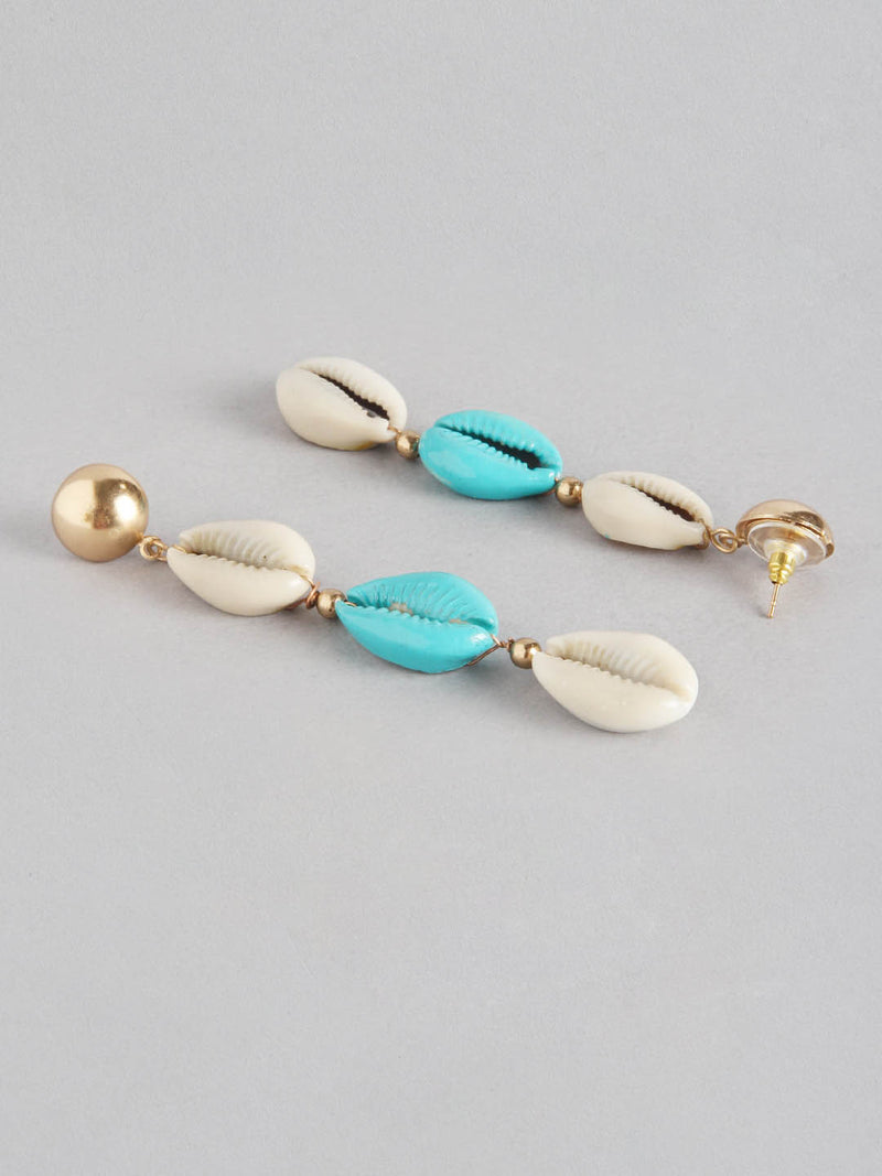 Blue Ivory Shell Earring