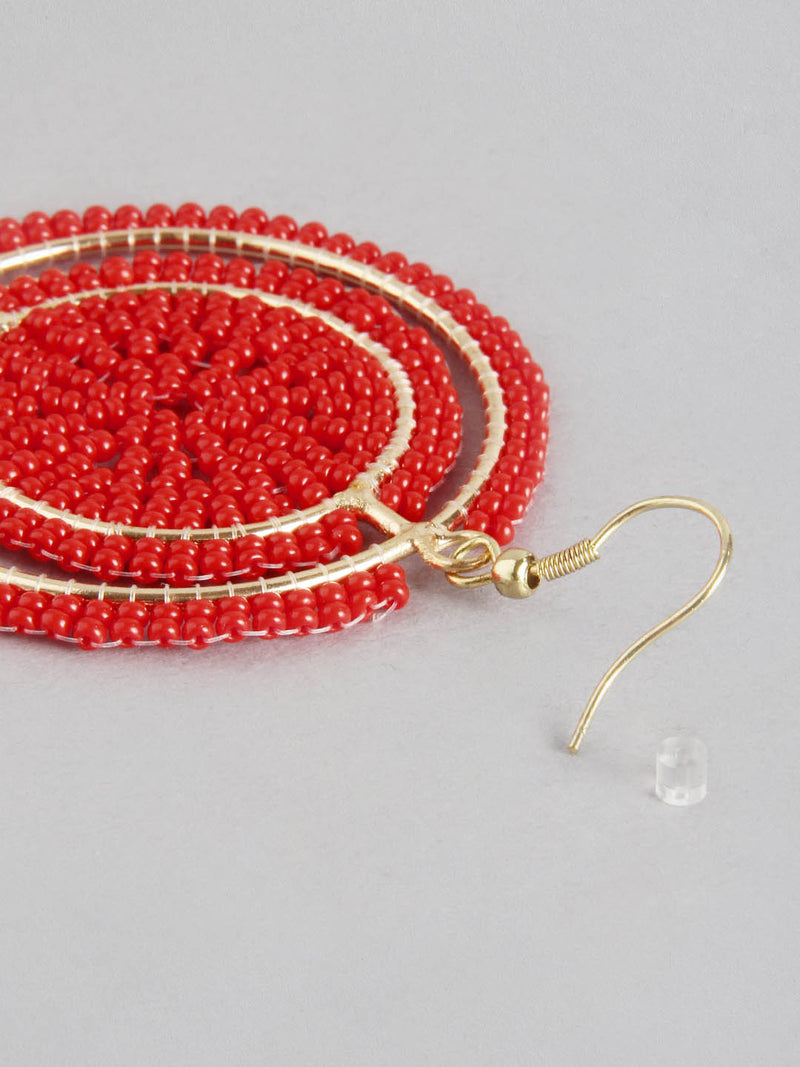 Red Beaded Earring