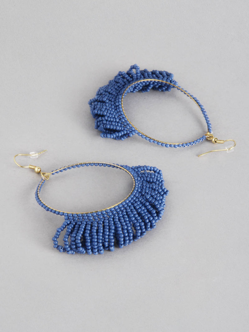 Beaded Blue Hoop