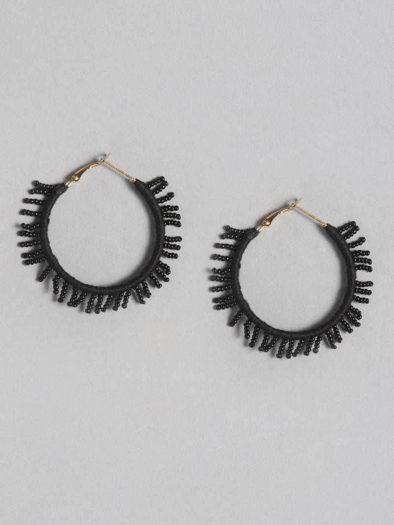 Black Small Fringe Earring