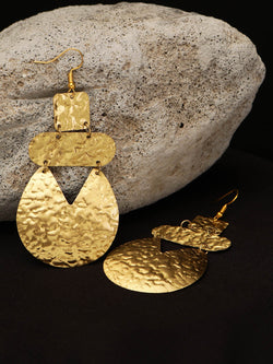 Gold Metal Plate Earring