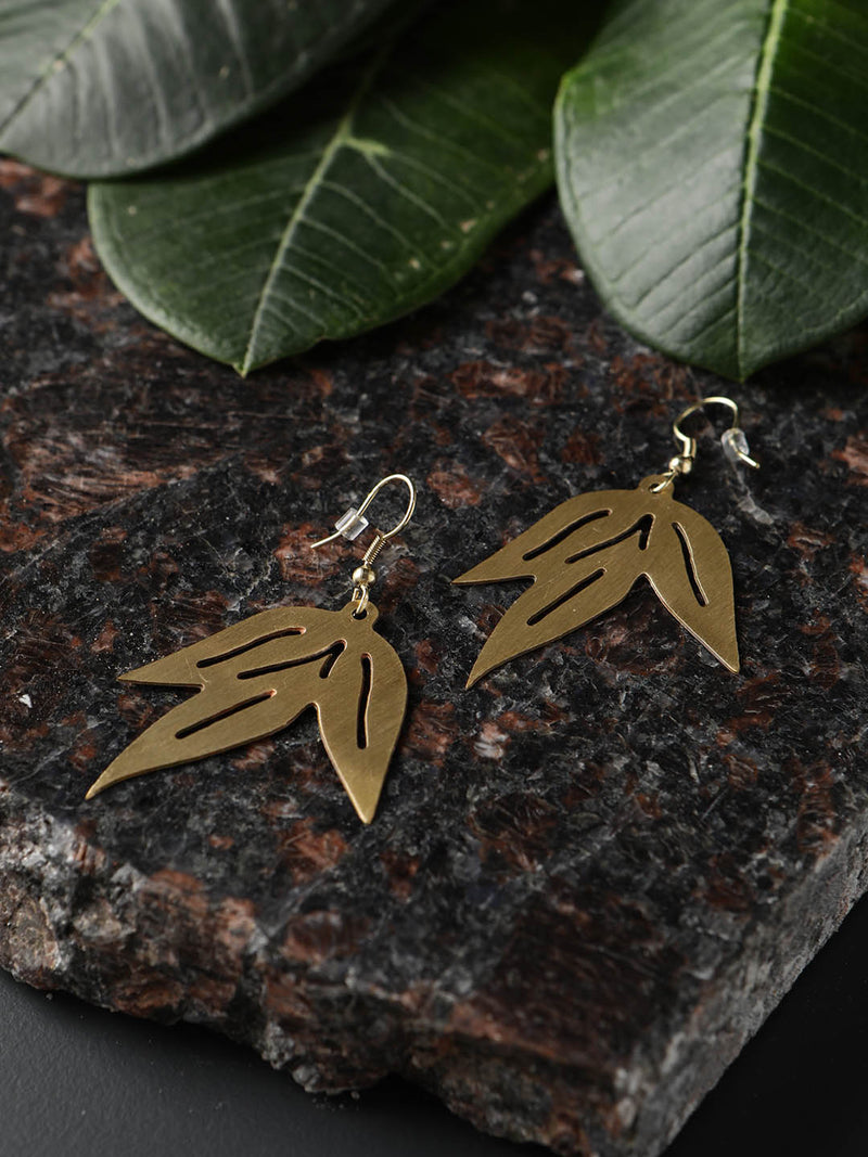 Tri Leaf Metal Earring