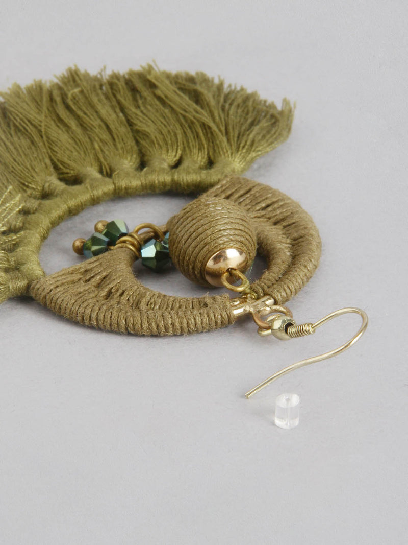Olive half flower earring