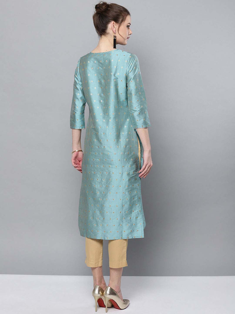 Gold Dotted Kurta Set
