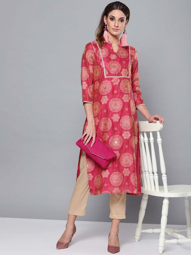 Golden Jacquard kurta set