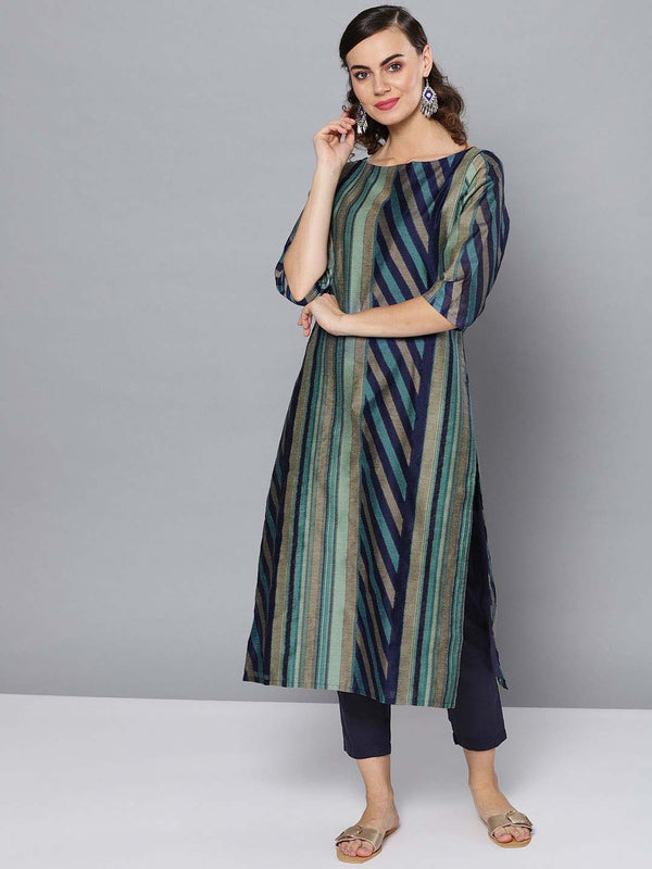 Handmade stripe kurta set