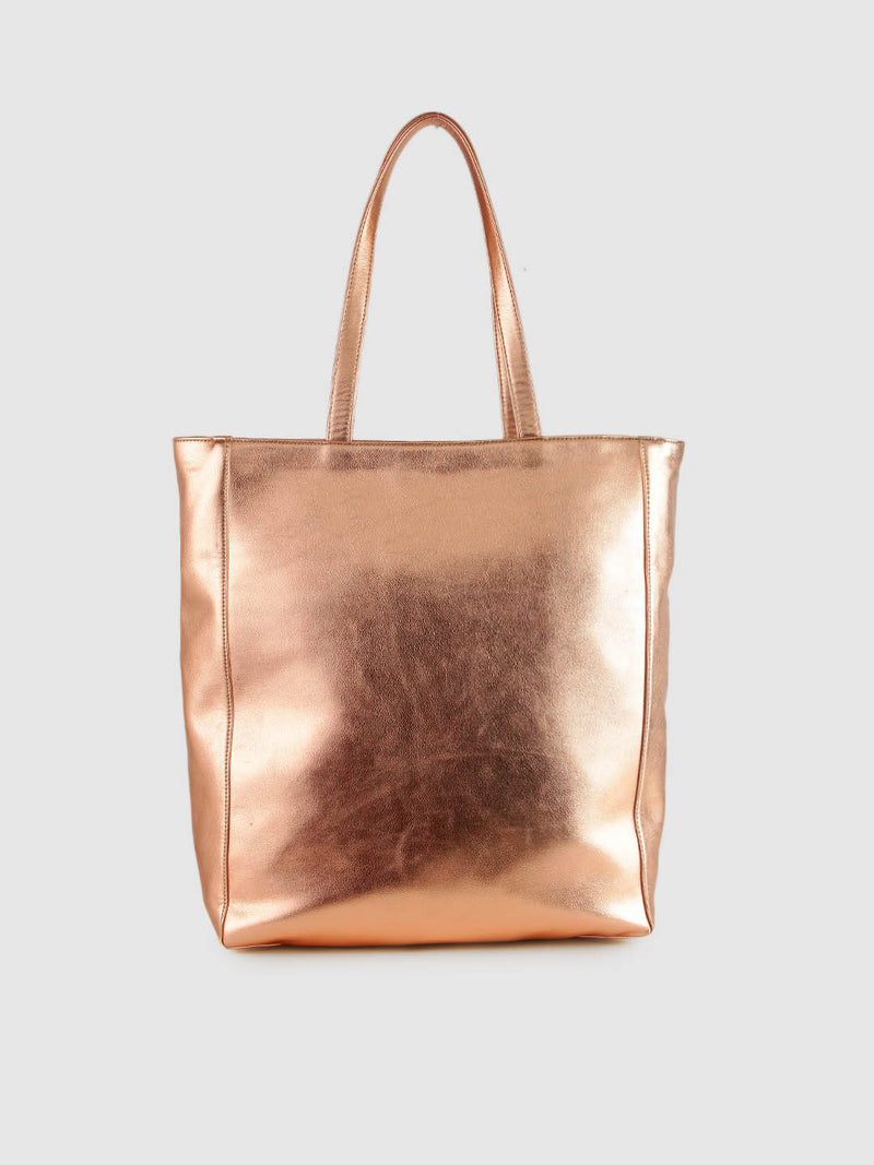 Rose Gold Metallic Shopper Bag