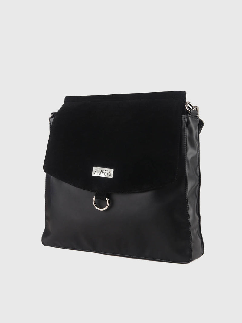 Black Solid Handbag