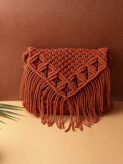 Rust Crochet Crossbody Handbag