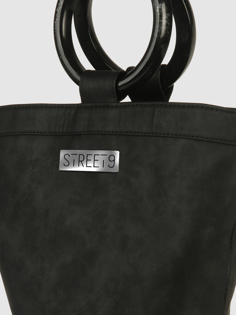 Black Bucket Shopper Bag