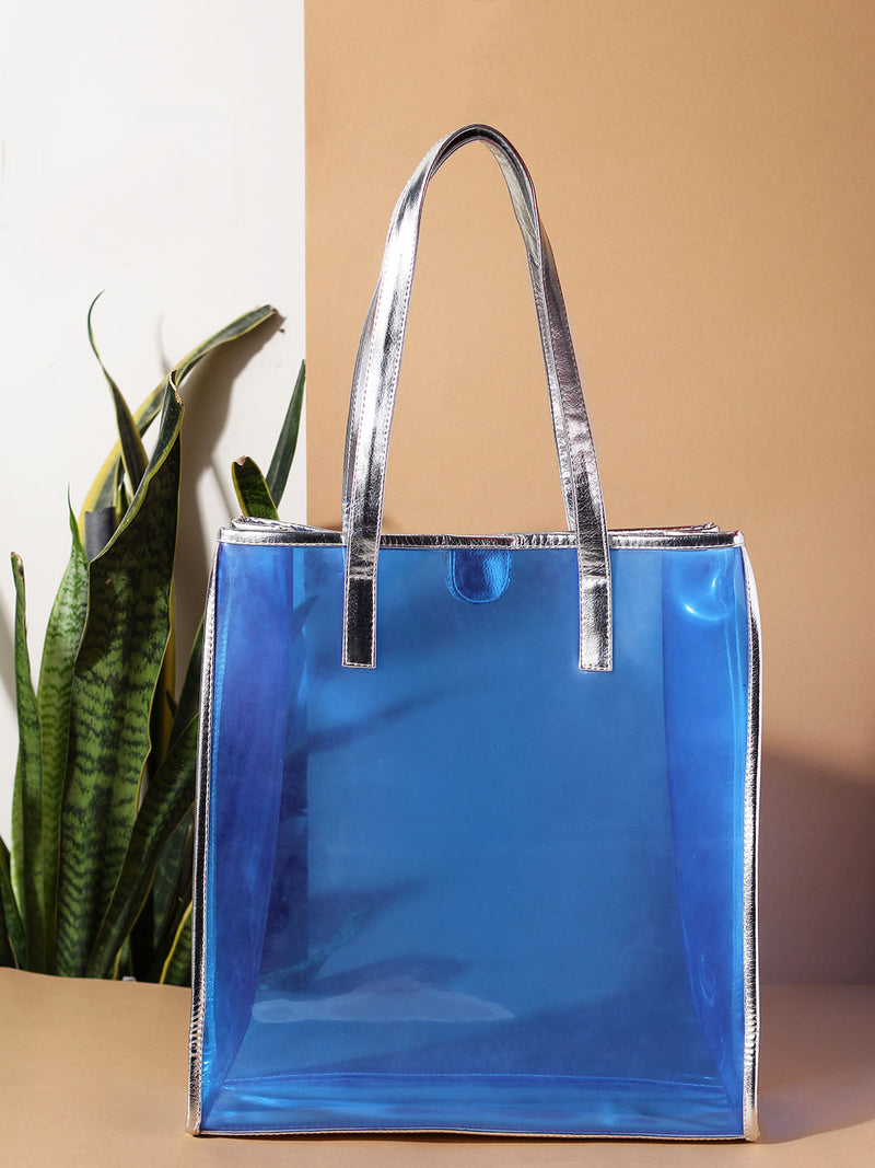 Blue See Through Tote Bag