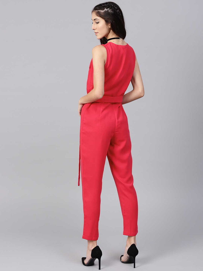 Wrap Pleated Jumpsuit