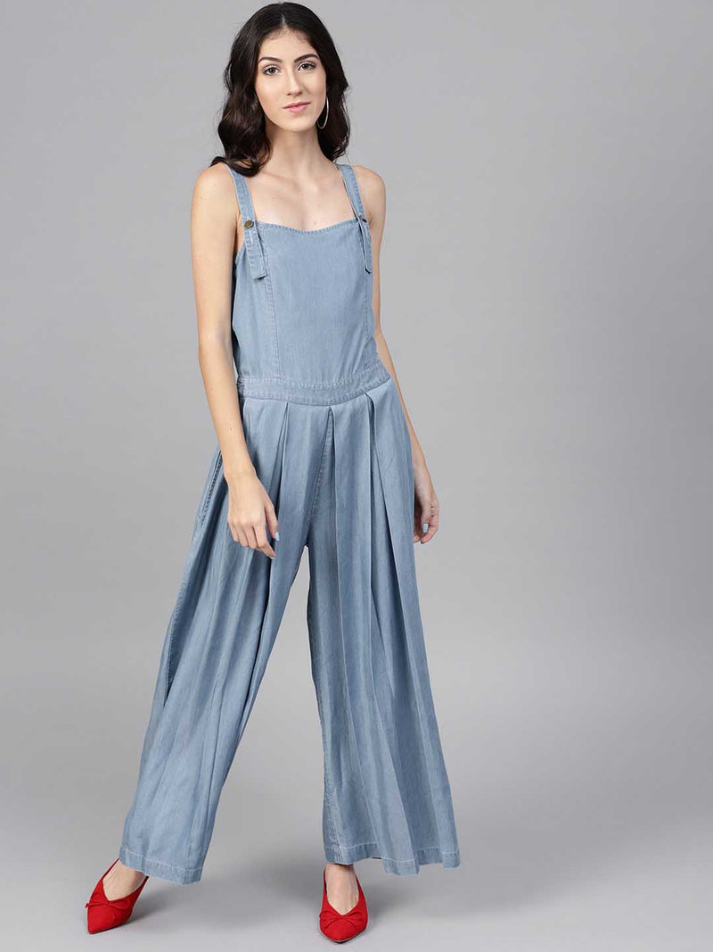 Pleated Denim Jumpsuit