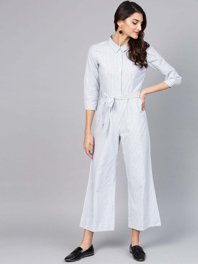 Stripped Culotte Jumpsuit