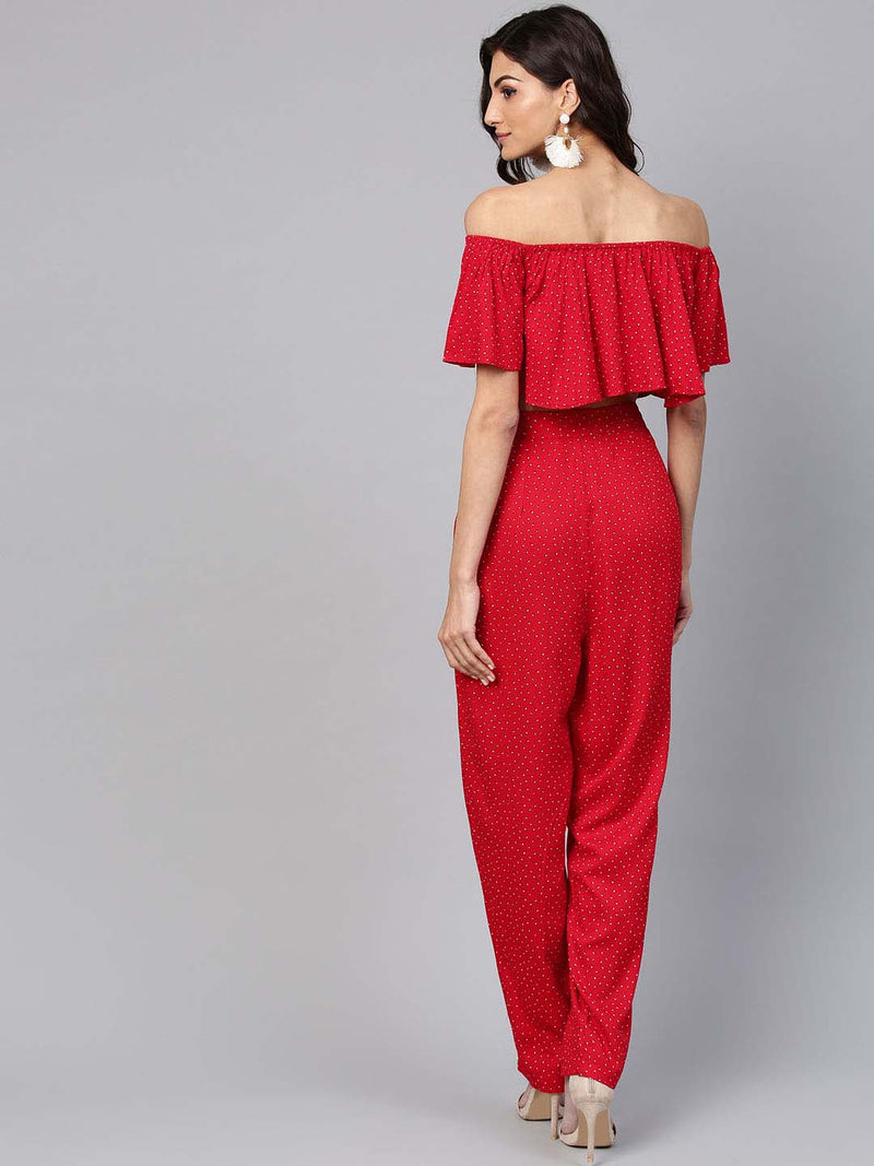 Red Bardot Two Piece
