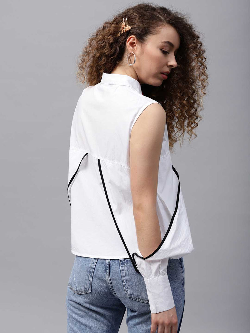 White Eye Patch Cold Shoulder Shirt