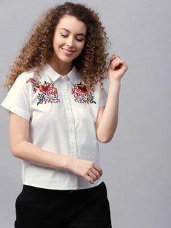 Embroided Drop Shoulder Shirt