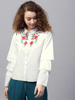 Embroided Bell Sleeve Shirt