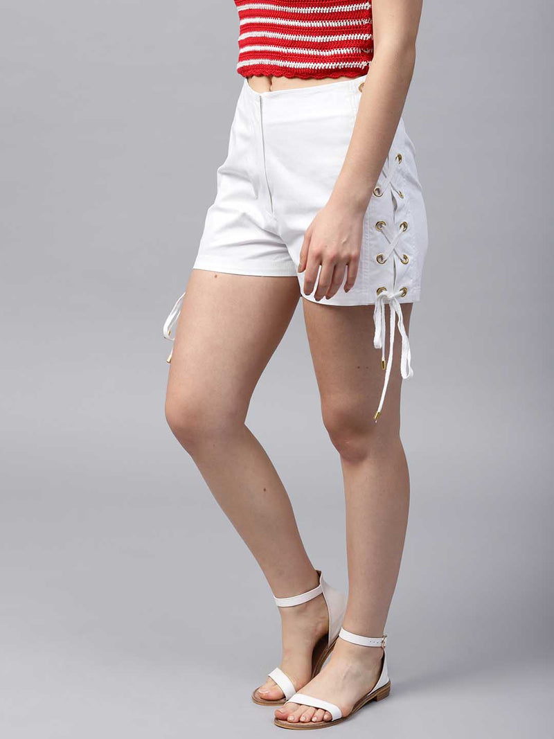 Solid Lace-Up Shorts