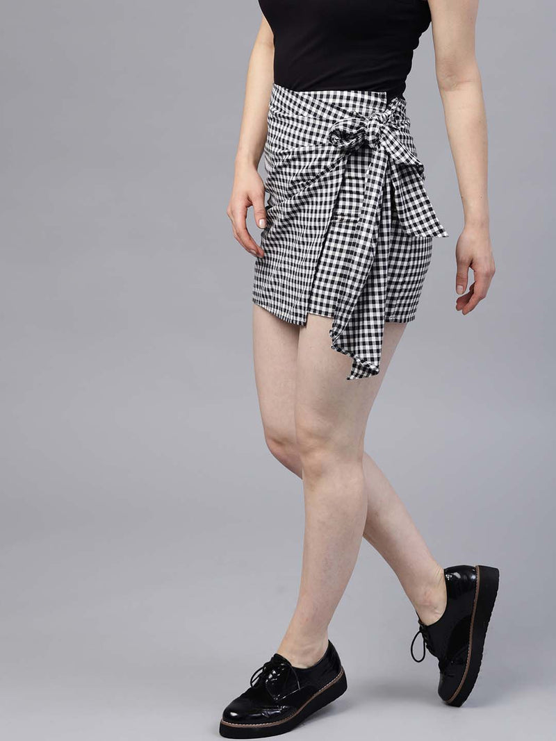 Knotted Check Skirt