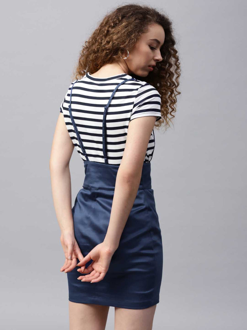 Lace-Up Pinafore Pencil Skirt