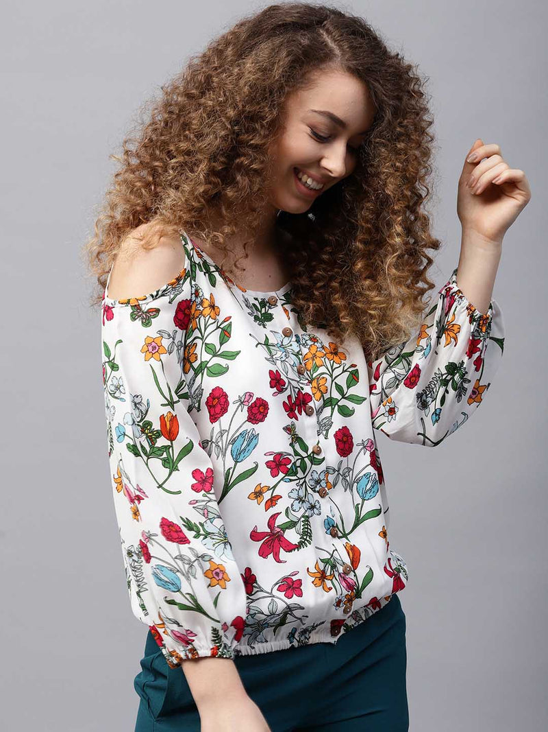 Floral Cold Shoulder Shirt