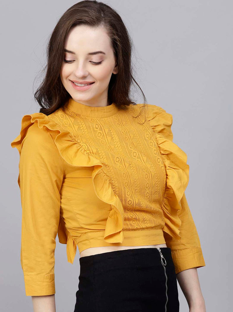 Frill Front Lace Top