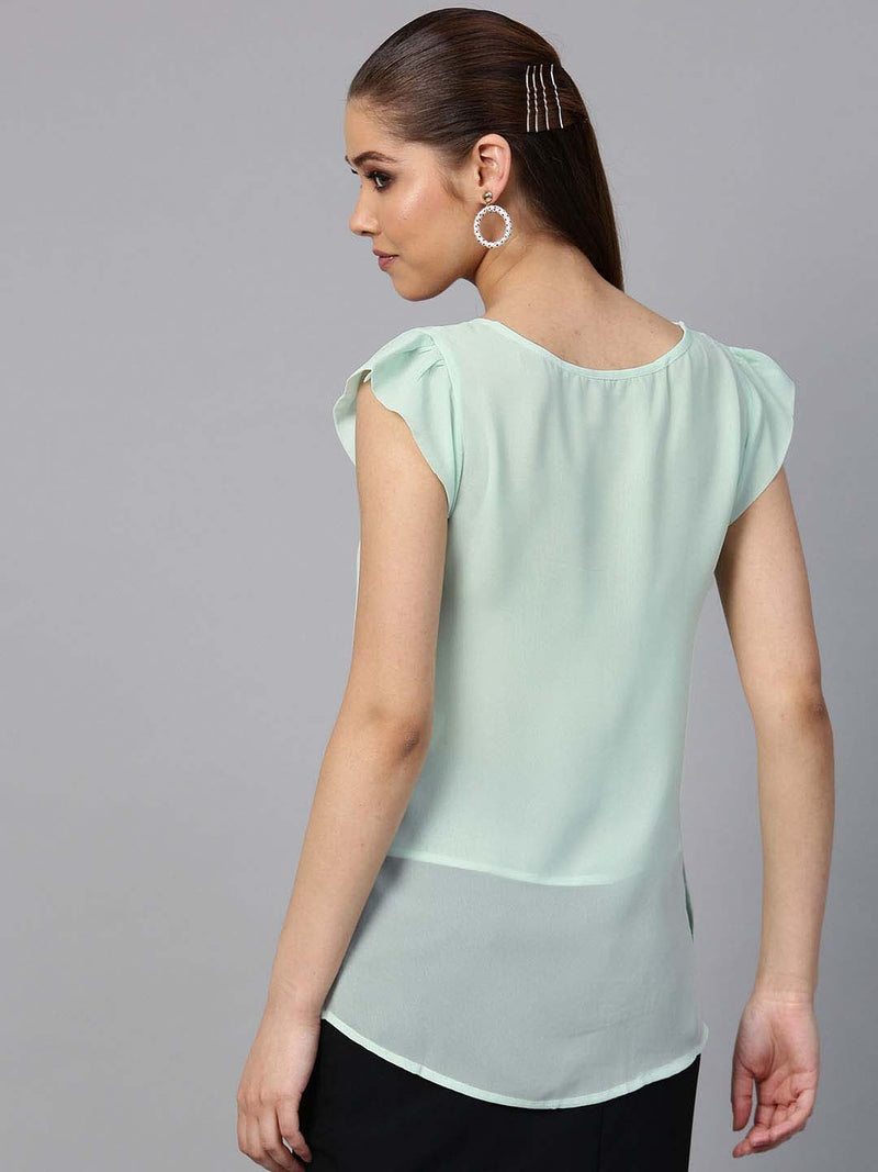 Sleeveless Box Pleat Solid Blouse