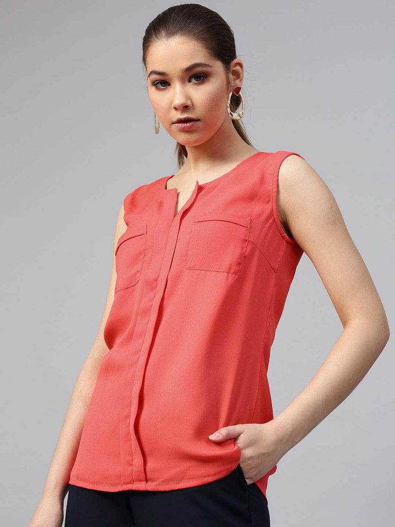 Sleeveless Box Pleat Patch Pockets Top