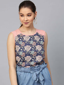 Sleevless Floral Panel Top