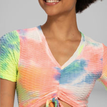 Load image into Gallery viewer, GYMKARTEL® ANTI-CELLULITE T-SHIRT - TIE-DYE YELLOW