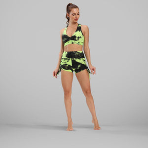 GYMKARTEL® ANTI-CELLULITE AND PUSH UP SHORTS - TIE-DYE GREEN
