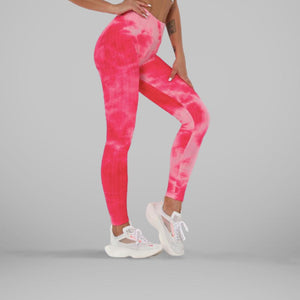 GYMKARTEL® ANTI-CELLULITE AND PUSH UP LEGGINGS - TIE-DYE PINK