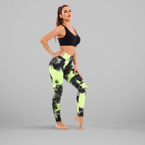 GYMKARTEL® ANTI-CELLULITE AND PUSH UP LEGGINGS - TIE-DYE GREEN