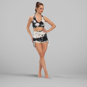 GYMKARTEL® ANTI-CELLULITE AND PUSH UP SHORTS - TIE-DYE BLACK