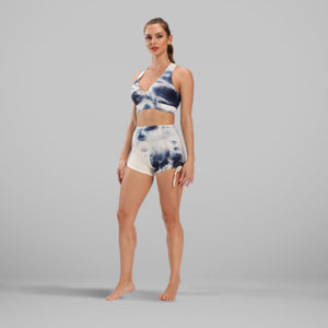 GYMKARTEL® ANTI-CELLULITE AND PUSH UP SHORTS - TIE-DYE BLUE