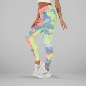 GYMKARTEL® ANTI-CELLULITE AND PUSH UP LEGGINGS - TIE-DYE YELLOW