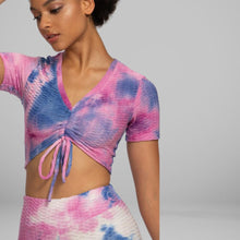 Load image into Gallery viewer, GYMKARTEL® ANTI-CELLULITE T-SHIRT - TIE-DYE PURPLE