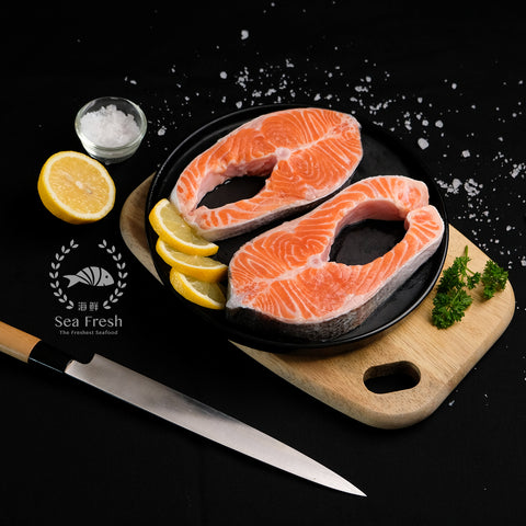 Sashimi Graded Norwegian Salmon Trout Steak / 三文鱼片切片