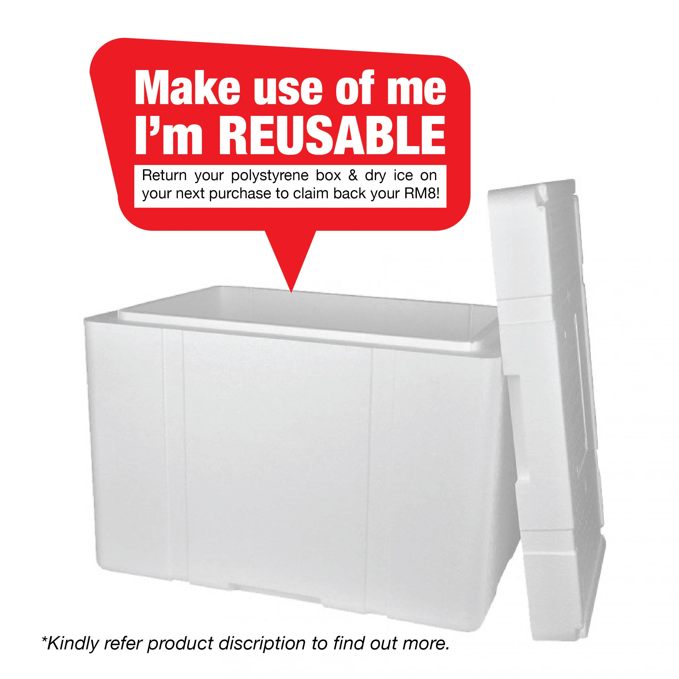 Polystyrene Box + Dry Ice [ Reusable ]