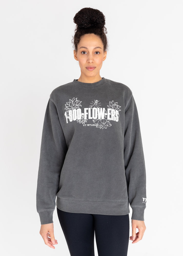 Puff Flowers Crew Pullover