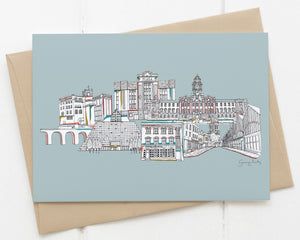 Stockport landmarks card blue