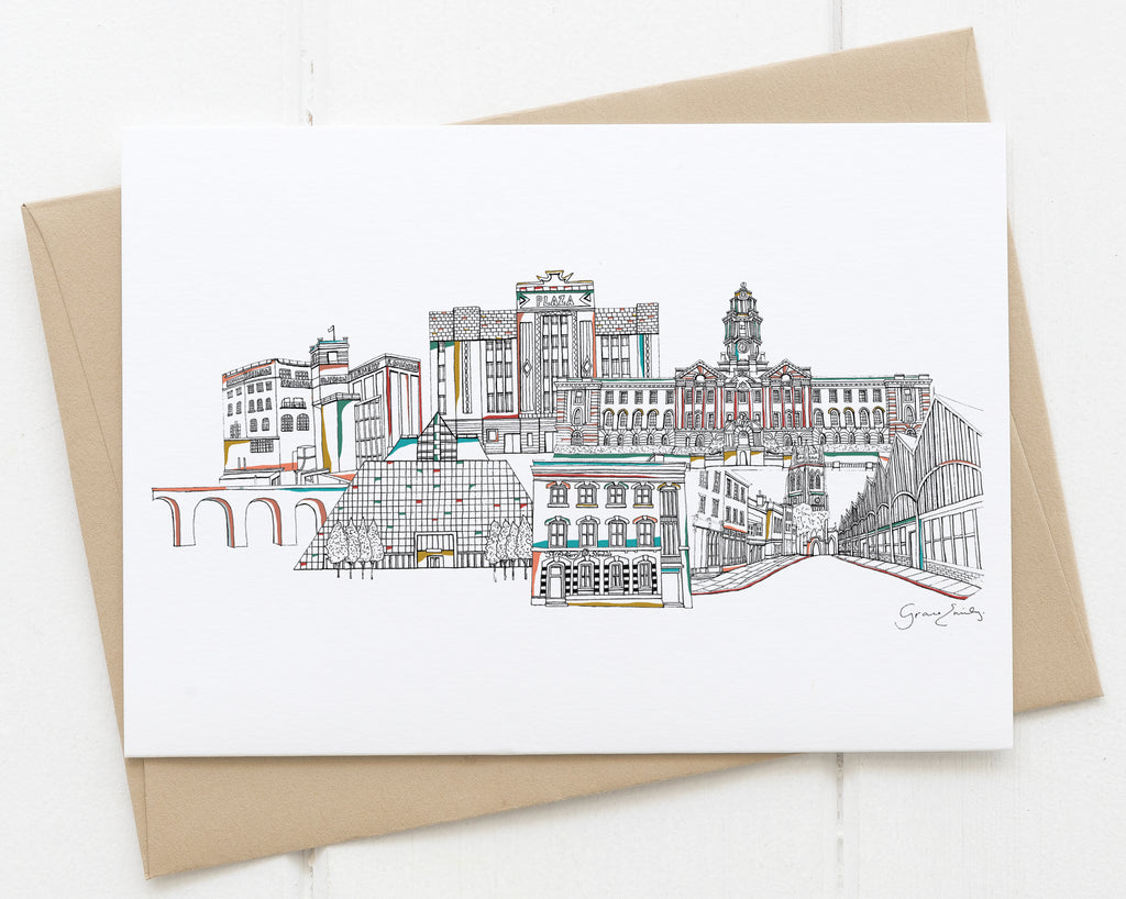 Stockport landmarks skyline card white