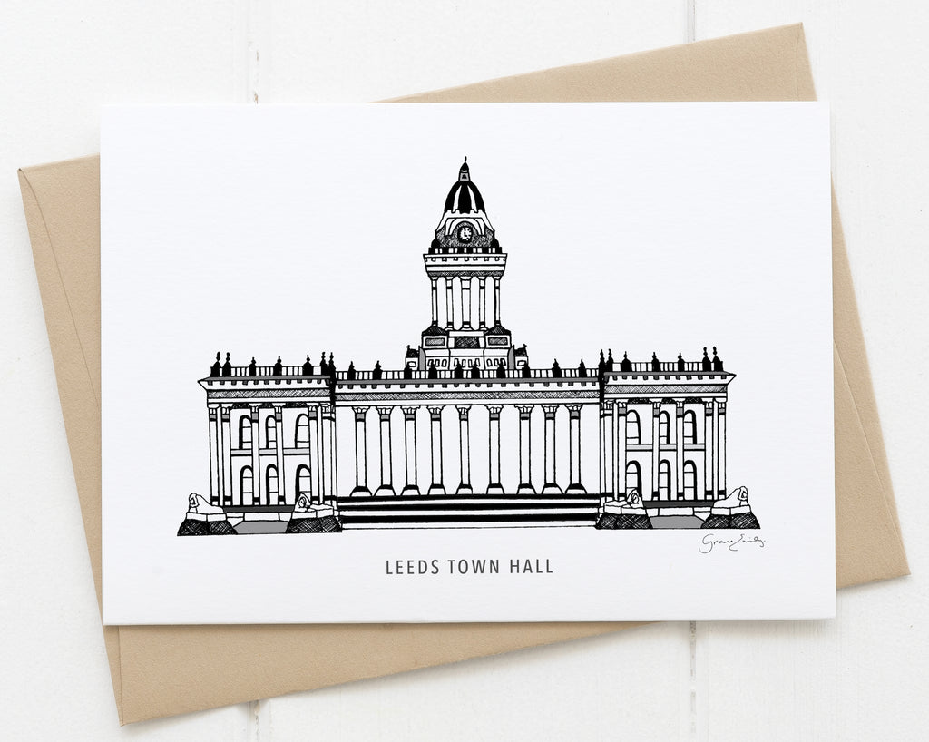 Leeds Town Hall monochrome card